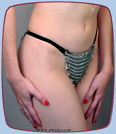 Crystalweave chain mail g-string shown w/clear AB beads